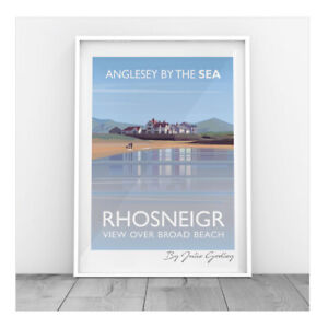 Original Illustrated print of Rhosneigr Anglesey Sea Beach Rhosniegr Print Only