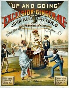 Vintage Circus Carnival Poster Hot Air Balloon Ginger Ale Print Picture A3 A4