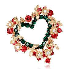 Hot Jewelry Gold Plated Rhinestone Alloy Sweet Christmas Gift Heart Brooch Pin