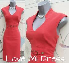 M&S 50s style Cherry Red/Orange Pencil Wiggle Dress Sz 10 EU38