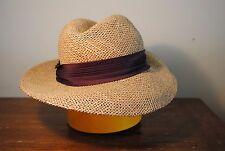 New listing Vintage ladies women (s) hat straw ribbon brown tan beige brim