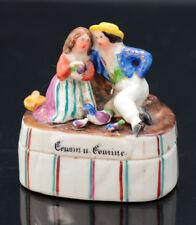Victorian porcelain fairing trinket box, cousin und cousine, 19th c.  [F149]