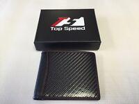 Men Glossy Black Carbon Fiber with Black Soft Calf Leather Bi-Fold Wallet