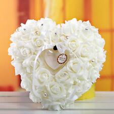 Pearl Rose Heart Shaped Gift Ring Box Pillow Cushion Romantic Wedding Favors
