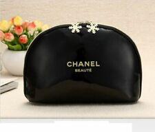 "Chanel Beauty Black Maquillage Snowflake Makeup Trousse Bag Pouch "" Large Size """