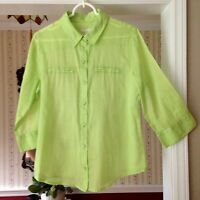 Chico's Women's Semi sheer Chartreuse 3/4 sleeve Button down Blouse 1 M