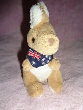"Kangaroo Happy Memories from Australia Blue Flag Scarf stuffed plush 5"""