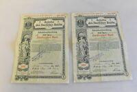 2xOriginal AKTIE ANLEIHE DES DEUTSCHEN REICHS 200 MARK 1916 Fortlaufend/ fachL3