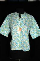 RARE DEADSTOCK NEVER WORN 1960'S FLORAL PRINT POLY COTTON BLOUSE SIZE 36-38