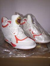 NIB Ash Bling Ter Hidden Wedge Fashion Sneaker White Orange Size 10M 40MEU $250