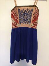 Flying Tomato Dress Spaghetti Strap Embroidered Blue Boho Size S