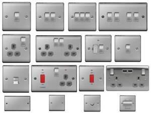 BG Nexus Metal Light Switches & Sockets Electrical Wall USB Insert Brushed Steel