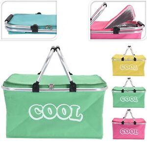 35 Litre Insulated Folding Picnic Camping Cooler Basket Shopping Cool Hamper Bag