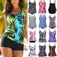 Women's Tankini Bikini Set Push-up Padded Swimsuit Bathing Suit Swimwear Plus AM