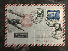 1935 Leipzig Germany Airmail cover to Brazil Ostropa Label Messestadt Cancel