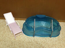 Barbie Doll My Scene Bling Spa Swimming Pool Lounge Chair Furniture Set Rare