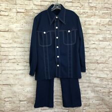 True Vtg Blue Leisure Suit Pants Jacket Lenox Royal Groovy Disco Club Xl 46