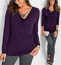 Geschmackvolles Shirt mit Wasserfallkragen Gr. 44/46 lila 920523 Neu
