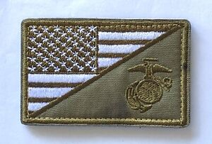 USA FLAG MARINE CORPS USMC NAVY VELCRO® Hook & Loop Patch Military Green