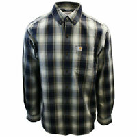 Carhartt Men's Relaxed Fit Navy Cream Plaid L/S Woven Shirt (367)