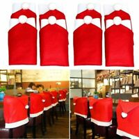 1/4/6 Red Santa Claus Hat Chair Back Cover For Christmas Dinner Seat Decoration