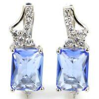 17x6mm Pretty 3.3g Blue Violet Tanzanite CZ 925 Solid Sterling Silver Earrings