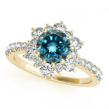 1.50 Ct Fancy Blue Diamond Solitaire Wedding Band Ring 14k Yellow Gold Gorgeous