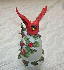 "Vintage 1996 ""Bernini"" Mann Christmas Bell With Cardinal 5 1/2"" Tall"