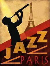 "TIN SIGN ""Paris  Jazz""  Music Garage Wall Decor"