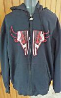Nike Air Jordan mens XXL black embroidered  sneaker front full zipper hoodie