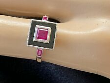 9K White Gold, Ruby & Onyx  Ring, 2.7Grams