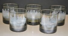 VINTAGE SMOKED ROCKS GLASSES WITH GREEK FIGURES ON HORSES (SET OF 5)