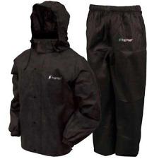 Frogg Toggs All Sport Rain Suit, Black Jacket/Black Pants, Size Large