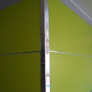 4 x Chrome (silver) trim, Rigid Angle 25mm x 25mm x 1.3M PVC