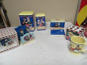 5 I LOVE LUCY KITCHEN ITEMS MUG, S 7 P SHAKERS, RECIPE BOX, 2 TIN BOXES NIB NOS