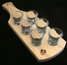 R.A.M.C Shield Set of 6 Shot Glasses with Wooden Paddle Tray Holder