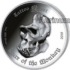 1 Ounce Silver Ghana year of the monkey Tattoo Art 2016 Ultra High Relief 5