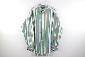 Vintage 90s Ralph Lauren Mens Large Multi-Color Striped Button Shirt Cotton