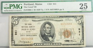 $5 Dollar 1929 Portland ME National Bank Note FR 1800-1 PMG Certified Currency