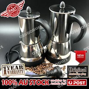 Electric 4/6cups Espresso Moka Stainless Steel Coffee Maker Italian AU Plug