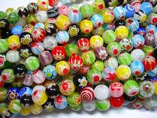 6mm Millefiori glass beads - multi-color 15 inch strand millifiori