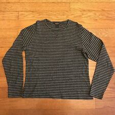 Woolrich Womens Large Black Gray Charcoal Striped Long Sleeve Crew Neck Shirt