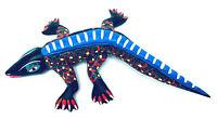 Vintage Elpidio Fabian Tilcajete Oaxaca Folk Art Wood Carved Painted Lizard