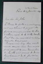 Prince Philippe of Orléans Signed Letter 1886 Fountain to the Duke of Albany