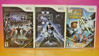Clone Wars Lightsabre Duels, Force Unleashed I + II - Nintendo Wii 3 Game Lot