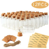 12Pcs  Mini Glass Bottles Jars Cork Stopper Vial Wedding Party Favour Decoration