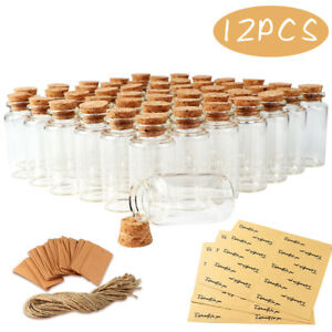 12Pcs Clear Glass Bottles with Cork Stoppers Mini Small Jars Vials Wedding Favor
