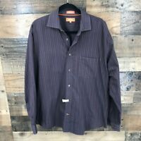 Faconnable Mens Maroon Stripe 100% Cotton Long Sleeve Button Up Shirt Size L
