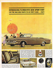 Vintage 1962 Magazine Ad Plymouth Sport Fury For Man Who Wants To Go First Class
