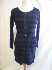 Ladies Dress - Criminal, size S, black/purple stripe, zips, 10% wool NEW - 7307